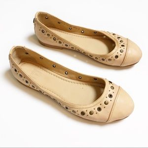 Frye cream leather studded flats
